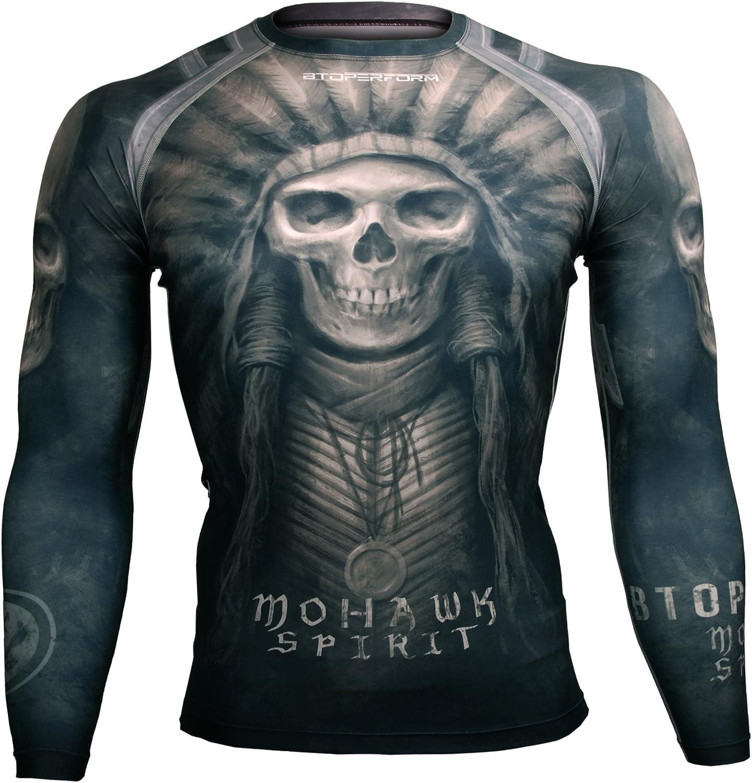 Btoperform Compression Rash Guard Full Graphic Base Layer Shirts Mohawk Spirit -Black [FX-102K]