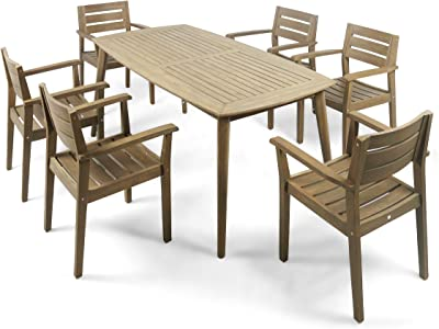 Christopher Knight Home 305581 Zack Outdoor 7 Piece Acacia Wood Dining Set, Gray Finish