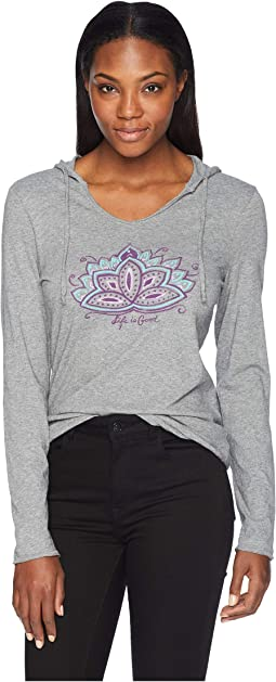 Peaceful Lotus Hooded Smooth Long Sleeve T-Shirt