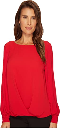 Vince Camuto - Long Sleeve Fold-Over Front Mix Media Blouse