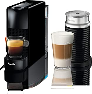 Breville-Nespresso USA BEC250BLK1AUC1 Nespresso Essenza Mini Expresso Machine, Aeroccino Bundle One Size, Black