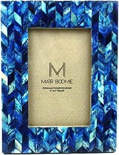 Matr Boomie Blue Chevon Bone Wood Frame