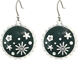 Green Enamel Floral Inlay Drops Earrings