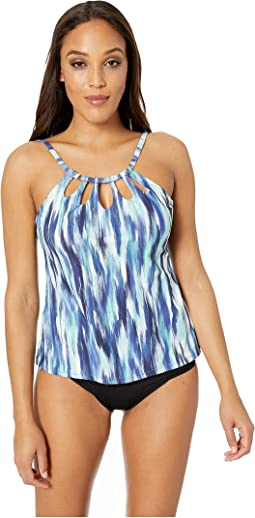 On the Horizon Cut Out High Neck Tankini Top