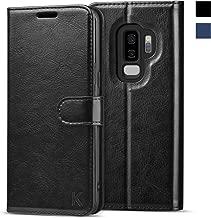 KILINO Galaxy S9+ Plus Wallet Case [Shock-Absorbent Bumper][Card Slots][Kickstand][RFID Blocking] Leather Flip Case Compatible with Samsung Galaxy S9Plus - Black