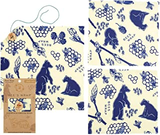 Bee's Wrap Lunch Pack, Eco Friendly Reusable Sandwich & Food Wrap Set, Sustainable Plastic-Free Lunch Organizer - Includes 1 Sandwich Wrap, 2 Medium Food Wraps in Bees + Bears Print