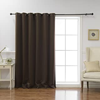 Best Home Fashion Wide Width Thermal Insulated Blackout Curtain - Antique Bronze Grommet Top - Dark Chocolate- 80