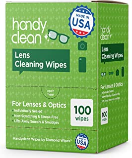 Premoistened Lens and Glass Cleaning Wipes: Portable Travel Cleaner for Glasses, Camera, Cell Phone, Smartphone, and Table...