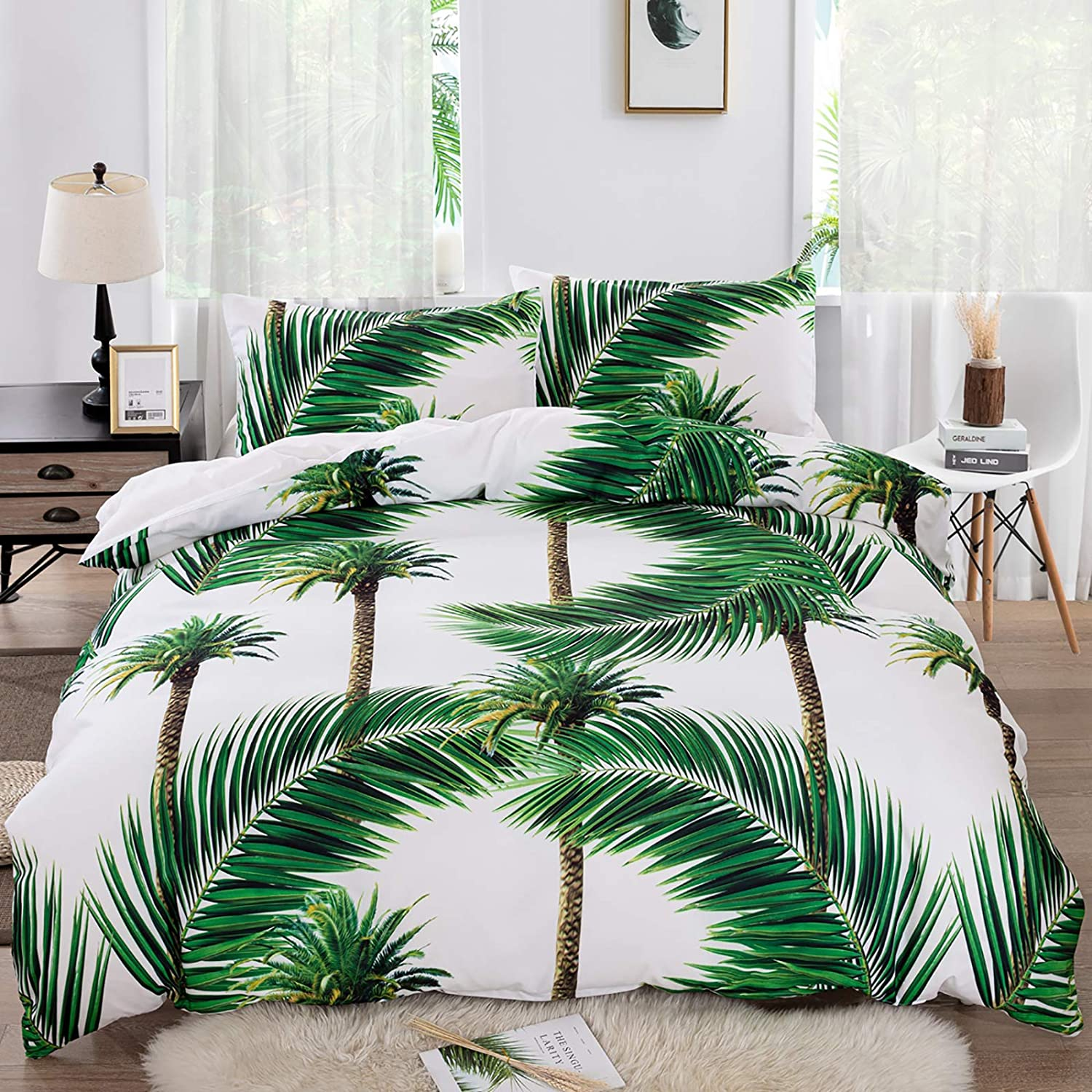 Tropical Duvet Cover In a popularity Set King Size Green Surprise price Bedding 1 Leaves D