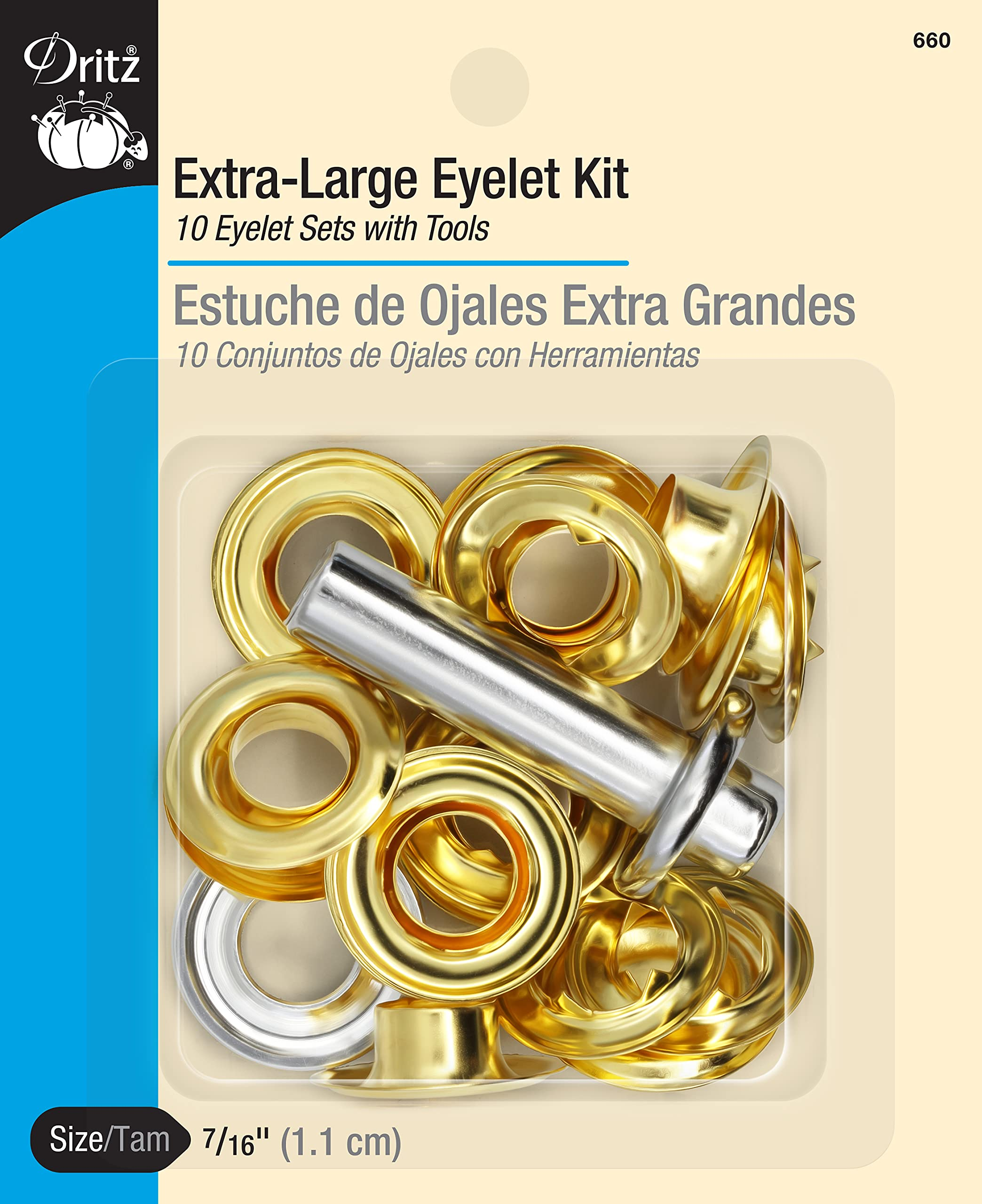 Dritz 660 Extra-Large Eyelet Kit with Tool, Brass, 7/16-Inch 10-Count