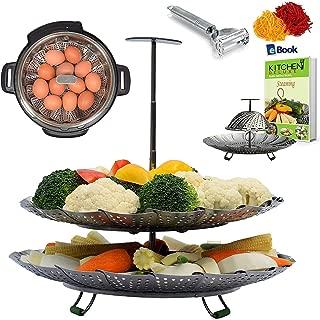 UNIQUE 2-TIER Vegetable Steamer Basket - Extendable Handle - BEST Bundle - Fits Instant Pot Pressure Cooker 6 Qt & 8 Quart - 100% Stainless Steel - BONUS Accessories - Peeler + eBook - For Instapot