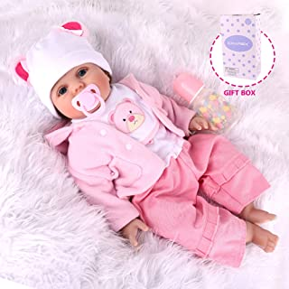 CHAREX Realistic Reborn Baby Doll Girls, Handmade Lifelike Silicone Weighted Dolls, 22 Inch Reallife Newborn Baby Dolls with Bear, Gifts/Toys for Kids Age 3+, EN71 and ASTM F96