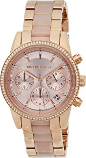 Michael Kors Ritz Women's Rose Gold Dial Stainless Steel Band Chronograph Watch - Mk6307, Analog Display, Quartz Movement