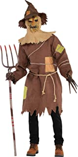 Amscan 847750 Standard Adult Scary Scarecrow Costume, Brown/Black