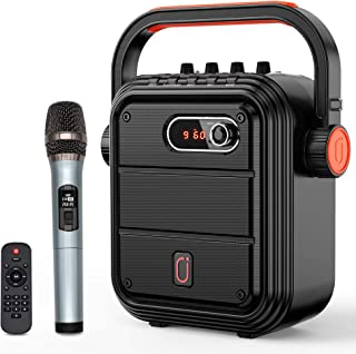 JYX Karaoke Machine with Wireless Microphone, Portable Bluetooth Speaker with Adjustable Shoulder Strap, Treble&Bass,PA Sy...