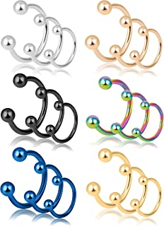 18-30Pcs 16G 316L Stainless Steel Nose Rings Cartilage Ear Septum Piercings Helix Tragus Horseshoe 6-14mm