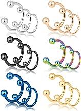REVOLIA 18-30Pcs 16G 316L Stainless Steel Nose Rings Cartilage Ear Septum Piercings Helix Tragus Horseshoe 6-14mm