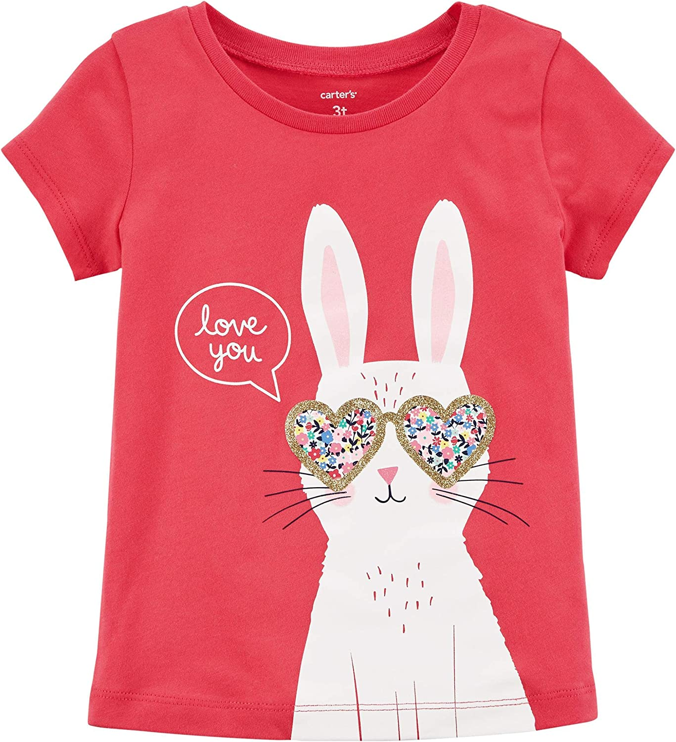 Carter's Girls' Love You Jersey Tee, Red, 6m