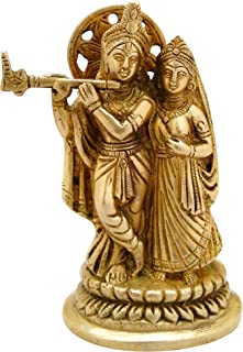 ITOS365 Radha Krishna Brass Statue Hindu God Sculpture Religious Gifts Item, 5.5 Inches