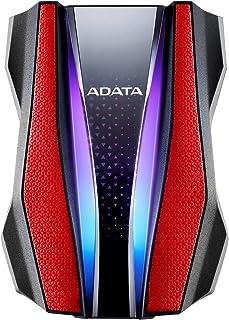 Adata 1Tb External Hard Drive With Rgb Lighting, Red, AHD770G-1TU32G1-CRD