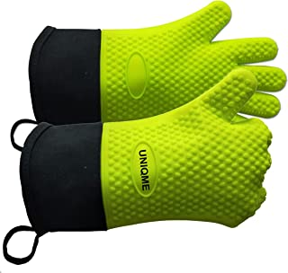 UNIQME BBQ Gloves Silicone Oven Mitts for Men Women, Heat Resistant Silicone Gloves for Cooking, Grilling, BBQ, Baking, Wa...