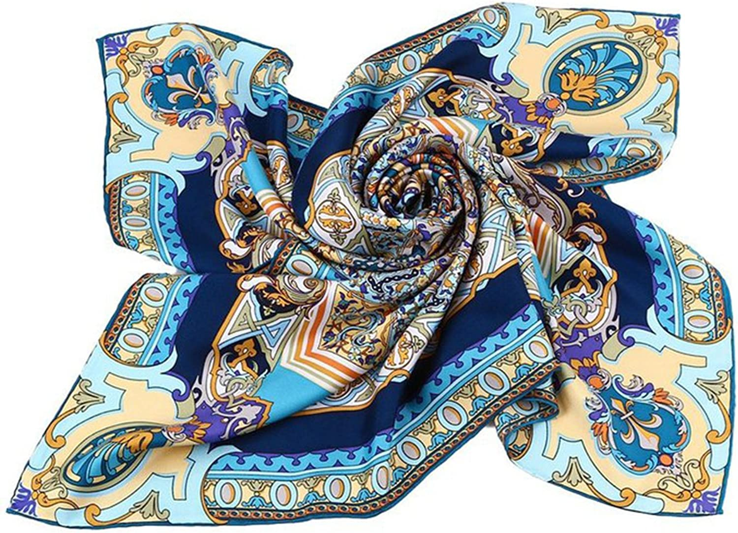 Ellettee Collections, 34  x 34  100% Square Silk Scarf Women Fashion Warp Elegant Shawl Lady Cozy Accessory
