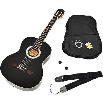 Ts-ideen - Guitarra clásica (tamaño 4/4, con diapasón de palisandro, incluye funda acolchada, correa, cuerdas y silbato afinador), color negro: Amazon.es: Instrumentos musicales