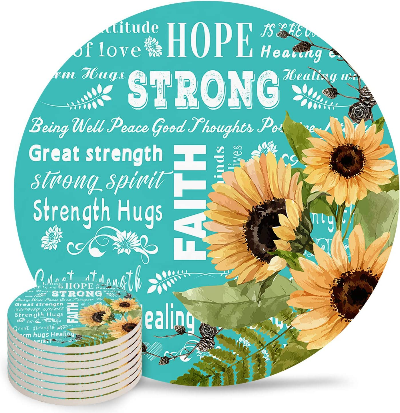 Absorbent Chicago Mall Ceramic Drink Coasters for Day Mother's S 5 ☆ very popular Table Decor