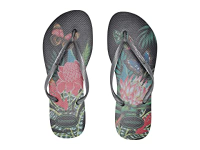Havaianas Slim Tropical Flip Flops (Black/Graphite) Women