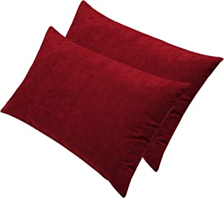 "Glassiano Waterproof Pillow Protector Set of 2, Maroon, Size 18""x28"" inch"