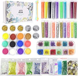 50 Pack Resin Jewelry Making Supplies Kit LET'S RESIN Art Craft Supplies for Resin, Slime, Nail Art, DIY Craft, Including Glitter,Mylar Flakes,Dry Flowers, Beads,Wheel Gears,Foil,Glass Stone etc