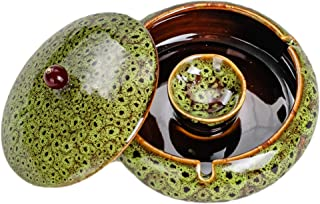 Outdoor Ashtray for Patio with Lid 5.7-inch Large Ceramic Green