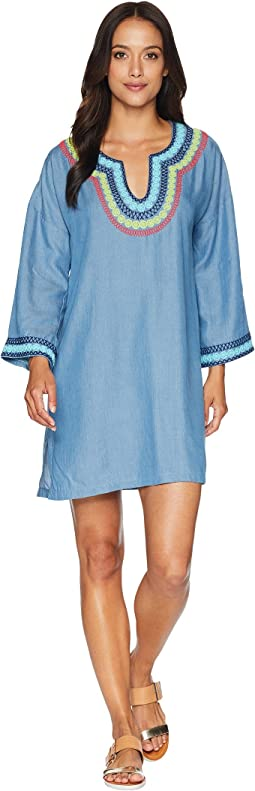 Tencel Chambray Embroidered Tunic Cover-Up