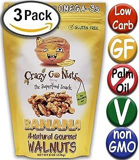 Crazy Go Nuts Flavored Walnuts & Healthy Snacks: Gluten Free, Vegan, Non GMO, 8oz 3 pack - Banana