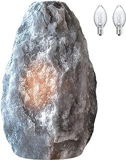 Himalayan Glow Hand Crafted Naked Grey Salt Crystal Lamp,Natural Salt Night Light,Salt Lamp with (ETL Certified) Dimmer Switch,Salt Lamp Bulb | 3-5 LBS (2 Extra Bulbs)