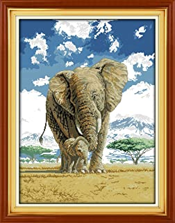 YEESAM ART New Cross Stitch Kits Advanced Patterns for Beginners Kids Adults - Elephants Mom And Son's Deep Love 11 CT Stamped 59x76 cm - DIY Needlework Wedding Christmas Gifts