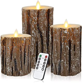 Enpornk Flameless Candles Battery Operated Pillar Birch Effect Real Wax Flickering Moving Wick Electric LED Decorative Can...
