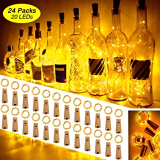 Ariceleo Wine Bottle Lights with Cork 24 Pack 20 Led 72 Pre-Installed+12 Replacement Batteries with Mini Warm White Fairy Light Battery Operated for DIY Party Table Christmas Halloween Wedding Décor
