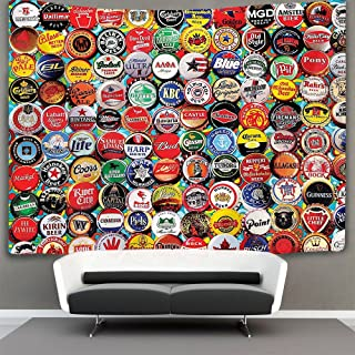 AMERICAN TANG world Beer bottle caps set Wall Tapestry Hippie Art Tapestry Wall Hanging Home Decor Extra large tablecloths 60x70 inches For Bedroom Living Room Dorm Room