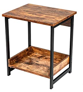AMOAK 2-Tier End Table for Living Room, Home End Table, Industrial Side Table with Storage Shelf, Vintage Style Wooden Board, Stable Metal Frame, Rustic Brown
