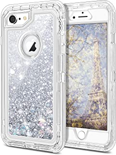 JAKPAK iPhone 6 Case, iPhone 6S Case Shockproof Glitter Flowing Liquid Bling Sparkle Cover for Girl Woman Heavy Duty Full Body Protective Shell for iPhone 6S iPhone 6 4.7 inches Silver