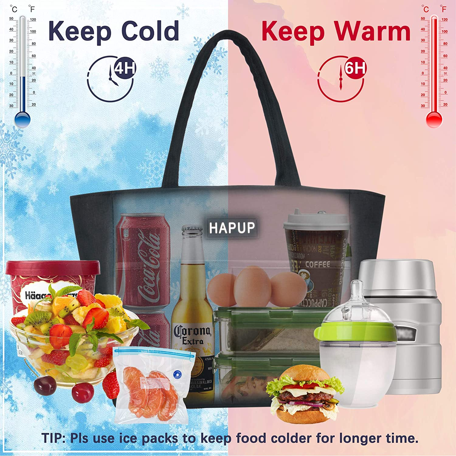 Lunch Bag Insulated Lunch Bags Adult Lunch Box Large Thermal Lunchbox Tote Bag Set with Multi Zipper Pockets and 2 Reusable Sandwich Bags Washable for Women Men Work College Travel Picnic Black