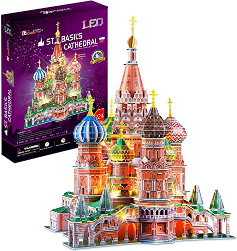 popular CubicFun LED Russia Cathedral 3D Puzzles for Adults Kids, St.Basil's Cathedral high quality Architecture Building Church Model Kits Toys for Teens, new arrival 224 Pieces outlet sale