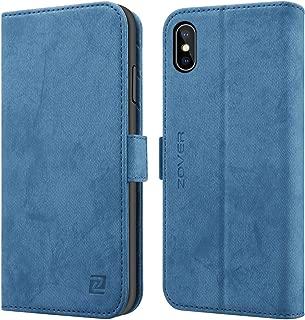 iPhone XS ケース iPhone X ケース 手帳型 財布型 ケース ワイヤレス充電対応 車載ホルダー対応 サイドマグネット アイフォンXS ケース アイフォンX 全面保護カバー スタンド機能 横開き カード収納 ギフトボックス(5.8インチ用 ネイビー)Navy Blue