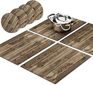 Trivetrunner:Decorative Modular Trivet Runner for Table 4 pcs Placemats Extendable Hot Pad, with Coasters Heat-Resistant Surface,for Hot Plates, Pots, Dishes, Cookware for Kitchen (Wooden Rustic)