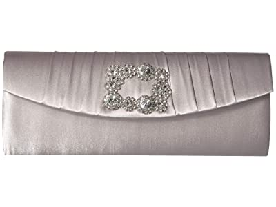 Jessica McClintock Joan East/West Clutch with Broach (Silver) Handbags