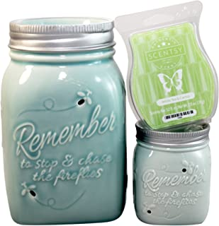 Scentsy Electric Warmers Chasing Fireflies Complete Set with Full Size Warmer, Plug In Warmer, & White Tea & Cactus Bar
