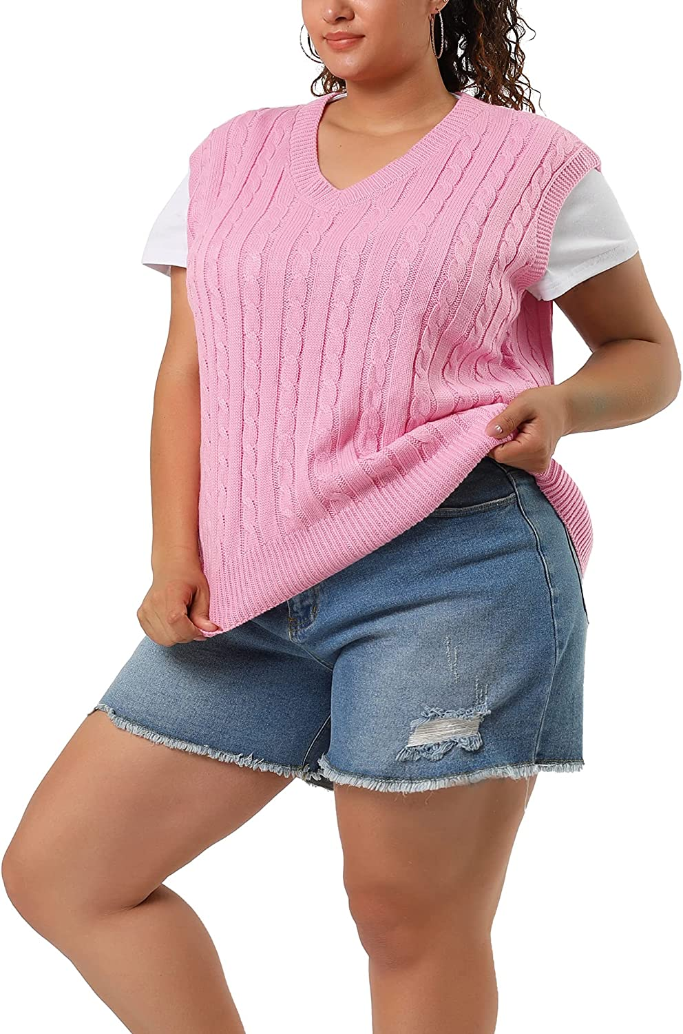Agnes Orinda Women's Plus Size Sweater Vest V Neck Cable Knit Vests Preppy Style Sweater Sleeveless Pullover Sweater Vests
