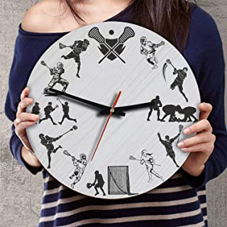 VTH Global 12 Inch Silent Battery Operated Lacrosse Wood Wall Clocks Gifts for Team Players Fans Sport Lovers