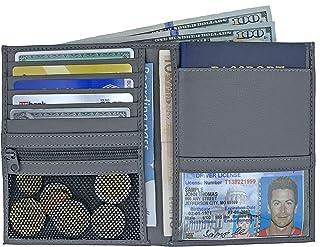 Grey RFID Blocking Genuine Leather Travel Passport Wallet Holder